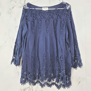 Arianna Lace Scoop Neck Pleated Blouse
